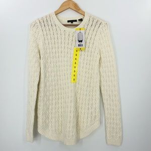 Jeanne Pierre NWT S Cable Knitted Sweater Scoop